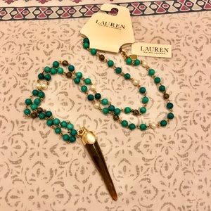 NWT Turquoise Beaded Horn Necklace